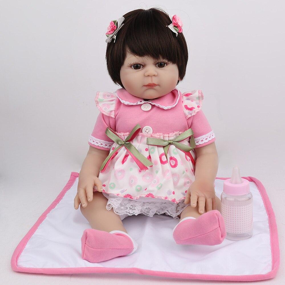 NPKDOLL 17 pouces Reborn bébé poupée pleine vinyle rose princesse fille Liflike nouveau-né bain bébés Collection cadeau d'anniversaire mignon Boneca - 2