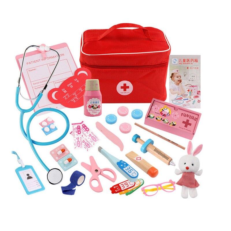 Closeout DealsToy Doctor-Toy-Set Medicine-Accessorie Medical-Kit Wooden Pretend-Play Kids Children