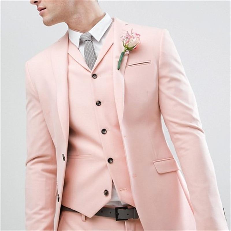 Gentlemen Style Pearl Pink Wedding Men Suit Groom Tuxedos Bridegroom Latest Design Slim Fit Blazer (Jacket+Pant+Vest+Tie)