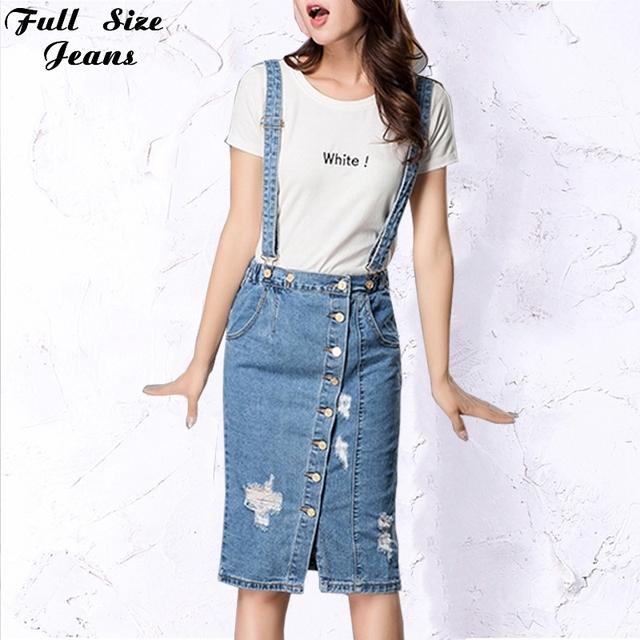 Botão Denim Frente Skirtall Plus Size Saia Jeans Com Uma Cozinha Equipada Top Brincalhão Cunhas Destruído Calça Jeans Suspender Saias 4Xl 5Xl