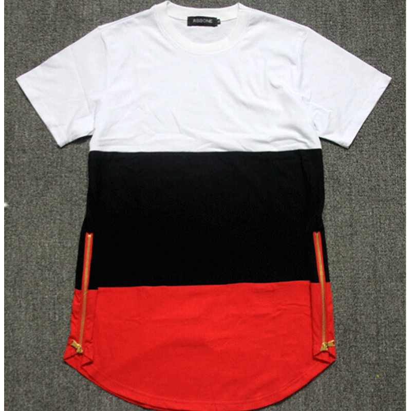 Side Zipper T shirt Brand Skateboard Hip Hop T Shirt Streetwear Tyga  Camisetas Extra Long Shirts 32430cc86a0