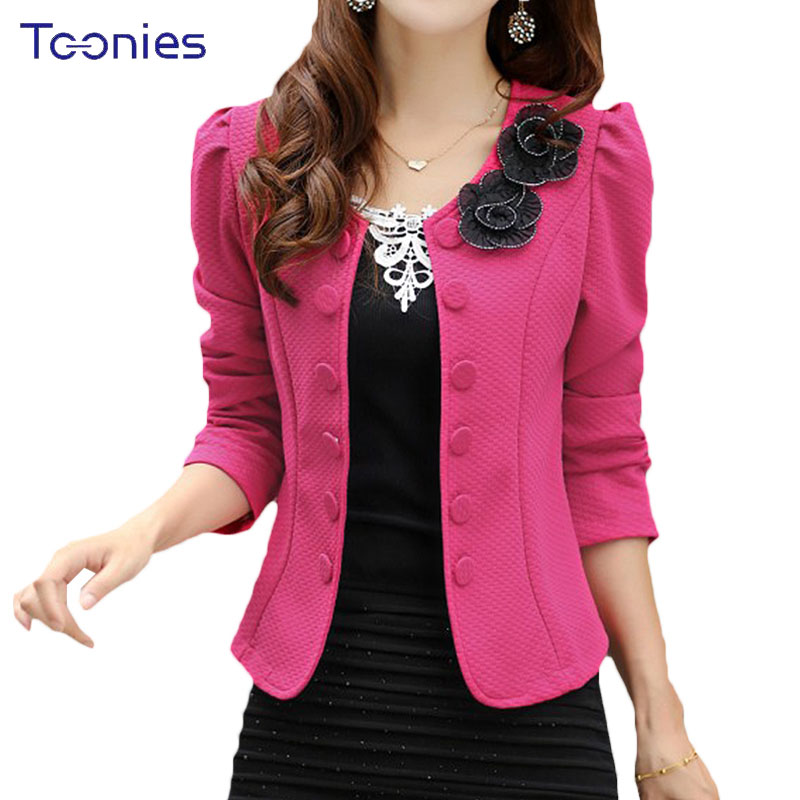 2018 Double Breasted Floral Blaser Women Suits Elegant Suit Jacket Casual Blaser Plus Size Cape Mujer Black Pink White Jaqueta