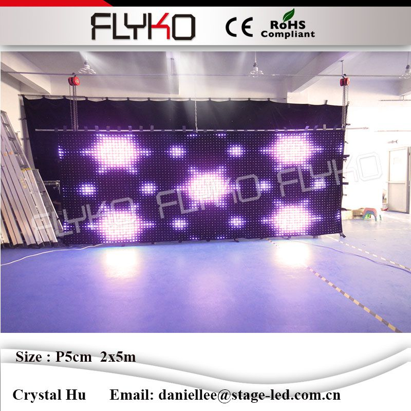 CE ROHS P5cm 2x5m Amazing colorfull audio visual systems led video curtain led video curtain video curtain video led curtain - title=