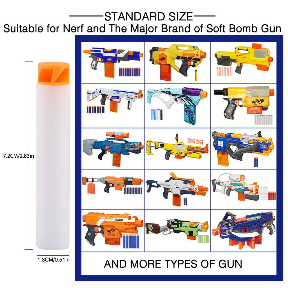 200pcs Soft Bullet Whirlwind Flat Head Foam Bullets For Nerf N-strike Elite Series Toys & Hobbies