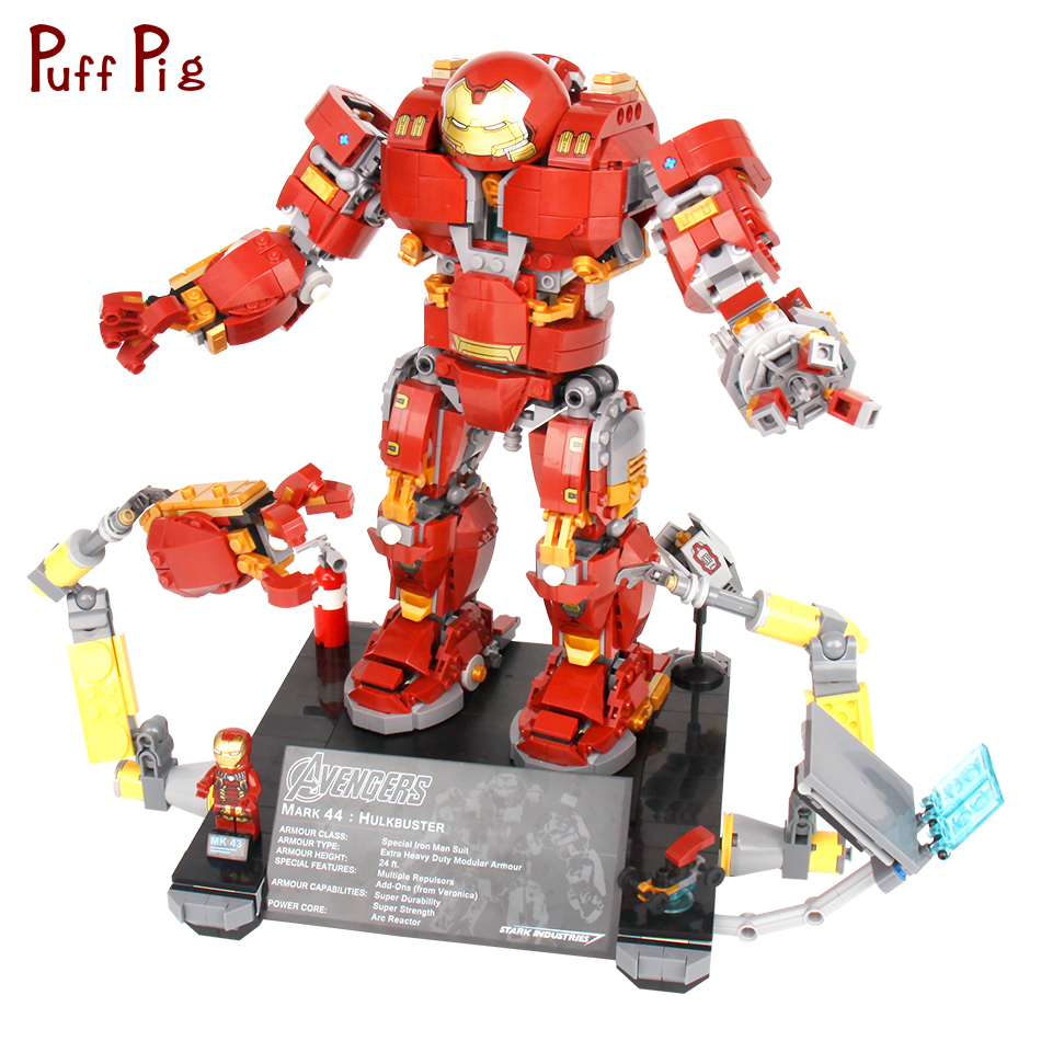 1530pcs Super Heros Iron Man Hulk Buster Building Blocks Compatible Legoed Robots Avengers Figures Bricks Toys For Children single sale large figures super cool hulk buster thanos legoing dogshank venom iron man building blocks toys gifts kids toys