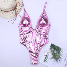 Купить с кэшбэком Deep V Women Swimwear One Piece Swimsuit Monokini Backlace Push Up Bikini Beachwear Bathing Suit Female Bronzing B