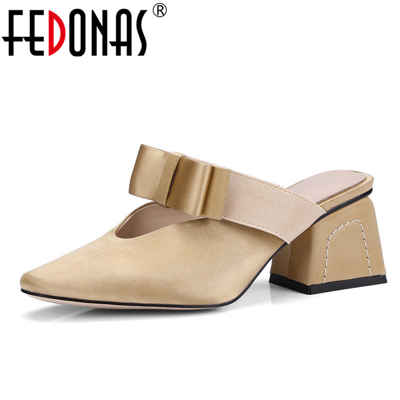 FEDONAS Brand Quality Women Sandals Sexy High Heels Pointed Toe Pumps Elegant Silk Ladies Bowknot Wedding Party Shoes Woman 2016 70 70 silk pillow quality certification brand yilixin silk place moscow delivery natural high quality silk pillow