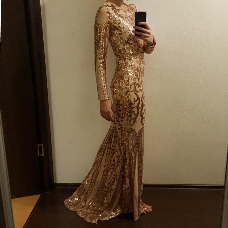 2019 nouveau or à manches longues géométrique Sequin extensible robe de soirée O cou pleine doublure Zipper étage longueur longue robe noire
