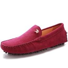 US6-10 Новый Кожа Повседневная SLIP-ON Comfy замши loafer мода мужчины водят автомобиль обувь мокасины
