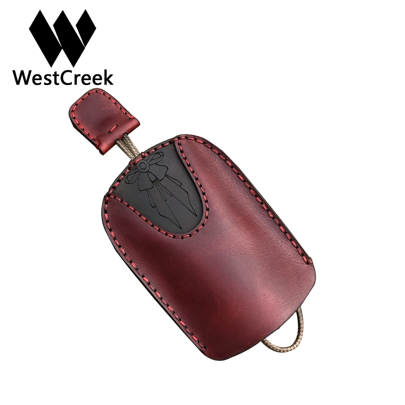 Westcreek Brand Genuine Leather Retro Handmade Car Key Wallets Women Key Holder Men Cow Leather Housekeeper Minimalist Keychain