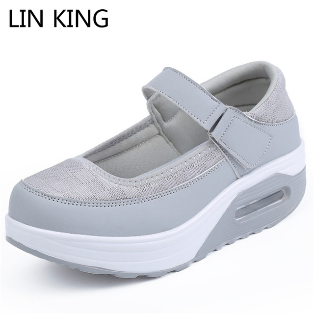 LIN KING Fashion Nurse Shoes Comfortable Wedge Heels Platform Women Swing Shoes Height Increase Spring Single Elevator Shoes