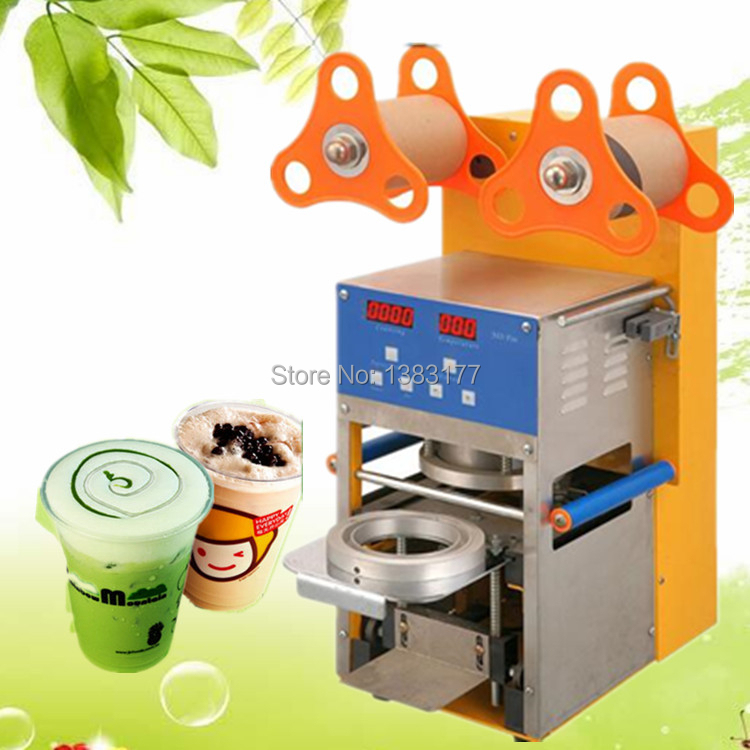 17cm height commercial bubble tea coffee cup sealing machine electric cup sealing Stainless steel trays automatic cup sealer automatic cup sealing machine commercial plastic milk tea cup sealer portable electric drinks sealing machine m10