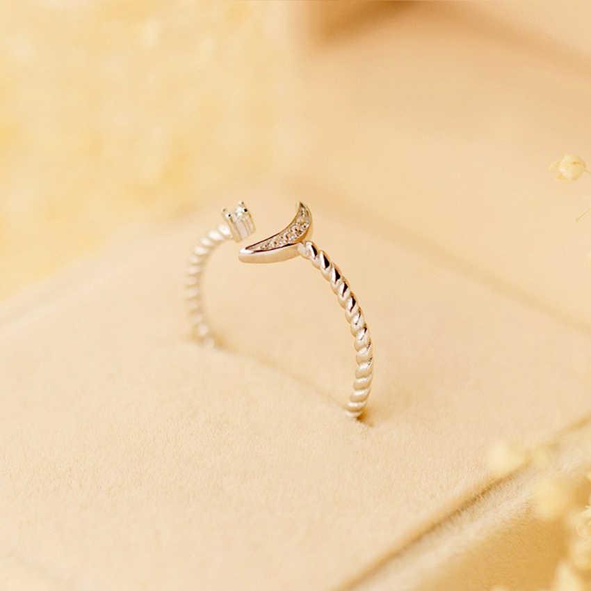 QIMING CZ Оригинальные Кристальные ювелирное серебряное кольцо Белый CZ витой Roped Crescent Moon Star кольца для женщин настраиваемый очаровательный подарок