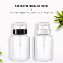 1Pc 200ml Empty Plastic Nail Polish Remover Alcohol Liquid Press Pumping Dispenser Bottle Nail Art UV Gel Cleaner 12*6cm BTZ1(China)