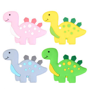1 Pcs Baby Silicone Teether Dinosaur Toy Baby Teething Pendant Chewable Molars Newborn Child Give Up Sucking Fingers 5 Colors