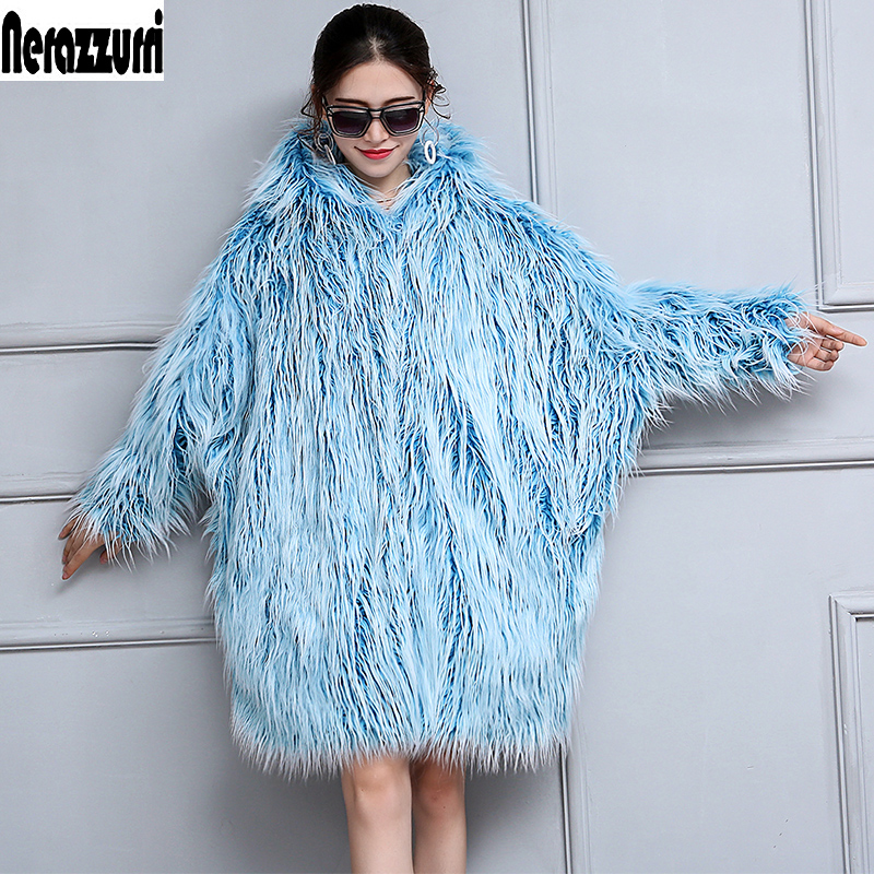 Nerazzurri Winter Faux Fur Coat Women 2019 Bat Sleeved Oversized Loose Blue Warm Thick Shaggy Furrry Mongolian Sheep Fur Jacket