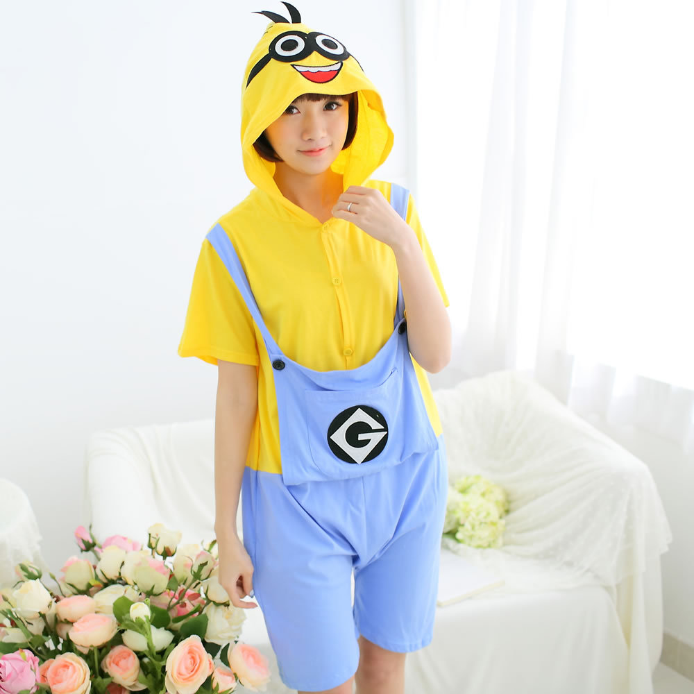 Kigurumi Onesie Unisex Adult Women Minions Yellow Pajamas Costume Animal Cosplay Summer Short Sleeve Cartoon Hoodie Sleepwear