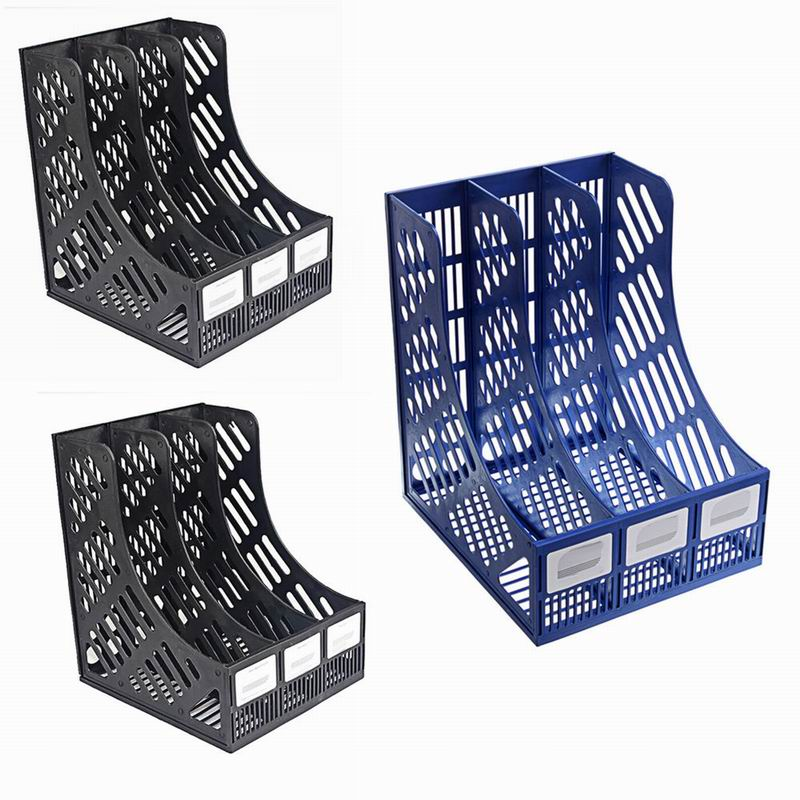 2 x New Blue Plastic Tidy Storage Baskets Office Household School Stationary