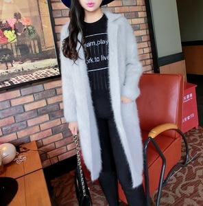 Image 5 - 2020 100% Pure Mink Cashmere Long Coat Lady Fashion Real Mink Cashmere Nature Fur Jacket Wholesale OEM Sweater DFP941