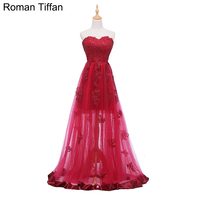 Original Real Photo Evening Dresses Sexy Illusion Floor Length Robe De Soiree Sweetheart Sleeveless Appliqued Banquet