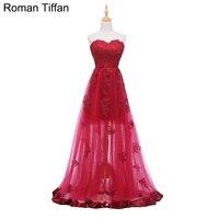 Original Real Photo Evening Dresses Sexy Illusion Floor Length Robe De Soiree Sweetheart Sleeveless Appliqued Banquet