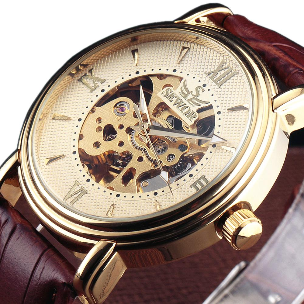 45ca2a6a0726f Click here to Buy Now!! أعلى العلامة التجارية SEWOR العلامة التجارية الرجال  الأزياء الميكانيكية ساعة اليد الروماني الهيكل العظمي ...