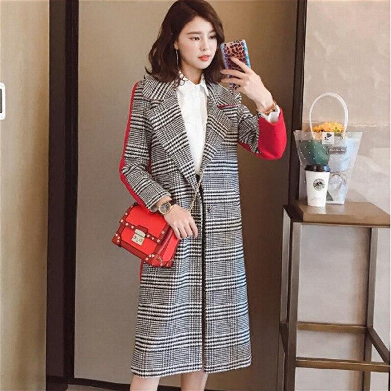Для женщин одежда и ветровка 2017 новая мода звезды с тем же стиль сетки соответствующего цвета лацкан пальто женские пальто
