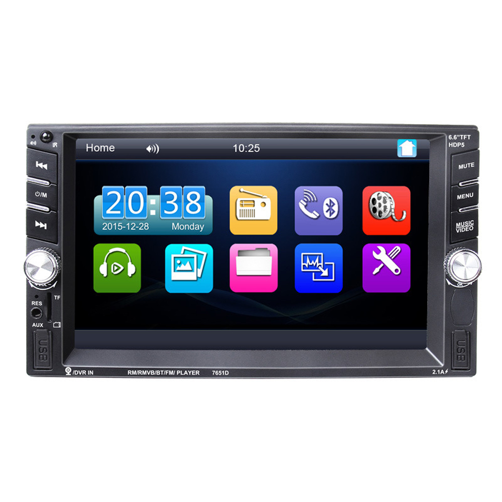 6.6 inch HD 7651D 2 Din MP5 MP4 Player Touch screen Car FM Radio stereo Bluetooth support rear camera 2 USB port FM car radio audio stereo with 2usb bluetooth tf fm mp4 player touch screen support rear camera hot sale 2din 6 2 inch