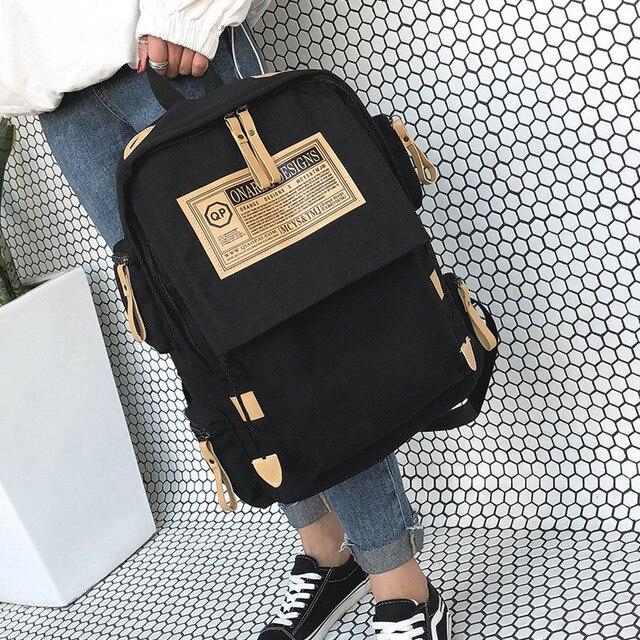 Fashion backpack women shoulder Bag School bags for teenager girls boys casual solid backpack school