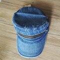 Синий Мыть Джинсы Полосой Молния BrimN Flat TOP Hat Cap