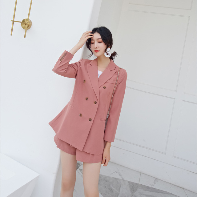ea94f9c7a9b9 Fashion 2 Piece Sets Female Pant Suits Double Breasted Loose Blazer Jacket  & Straight Pant Office Lady Suit Women Outfits
