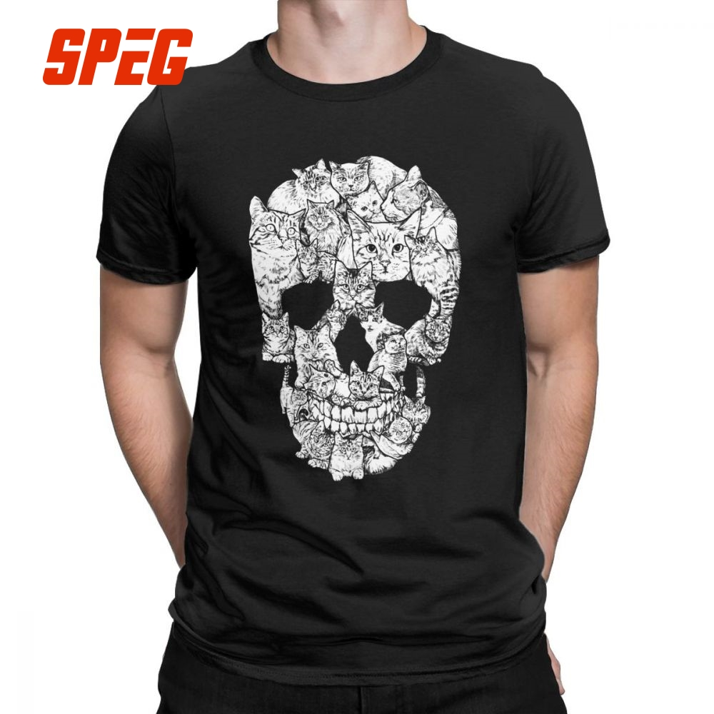 Cat Skull Design Horror Skull   T     Shirt   Halloween Men Short Sleeve Men Terror   T  -  Shirt   Cotton High Quality Round Neck Tees Printing