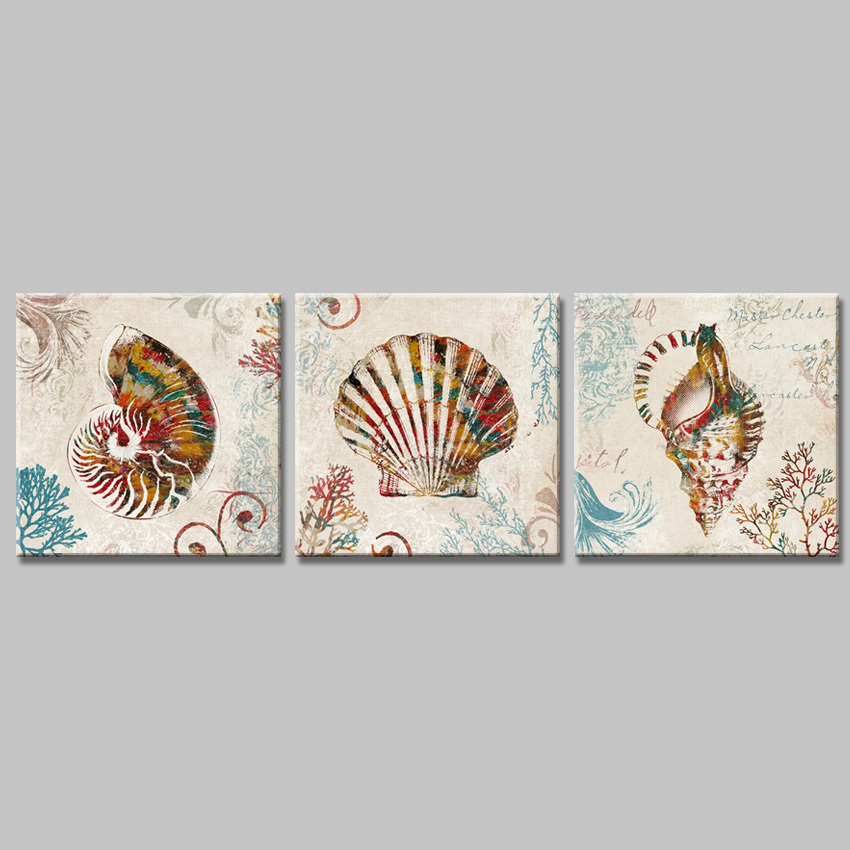 3pieces colorful nautilus conch shell vintage home decorative canvas art painting on the wall. Black Bedroom Furniture Sets. Home Design Ideas