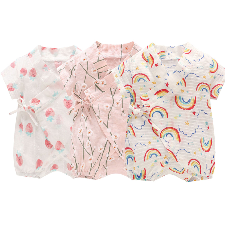 Soft Newborn Baby Clothing For Boy Girl Floral Printed Kids Clothes Infant Girl Jumpsuit Cotton Baby Bodysuit Pajamas ropa bebe