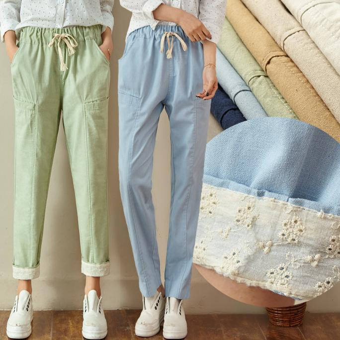 Spring and summer casual linen   pants   flanging Harem   capris   cotton elastic waist loose women trousers