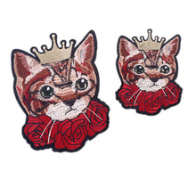 1PCS Crown cat Head Patch Embroidered Applique Iron On Patches Decorated Fabric Motifs DIY Sewing Accessorices