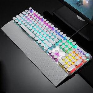 Image 2 - AULA الميكانيكية الألعاب لوحة المفاتيح ريترو Steampunk LED الخلفية 104 مفاتيح مقاوم للماء ل جهاز كمبيوتر شخصي محمول لعبة Gamer Kyeboard