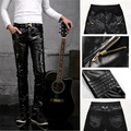 2017 New Thicken Men Leather Pants, Straight Skinny Mens Faux Leather Pants, Casual Slim Leather Trousers Zipper Decoration