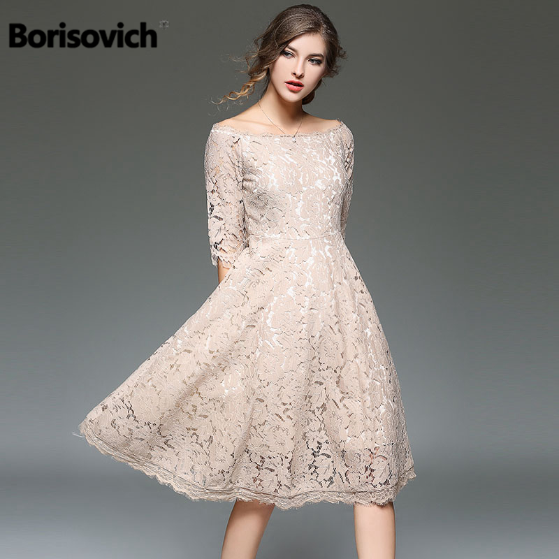 Borisovich New 2018 Spring Summer Fashion Slash Neck Half Sleeve Knee Length Luxury Lace Women Evening Party Dresses M127