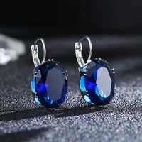 Ovale Royal & mer bleu Champagne blanc noir CZ argent femmes mode boucles d'oreilles femme mariage bijoux fiançailles en gros