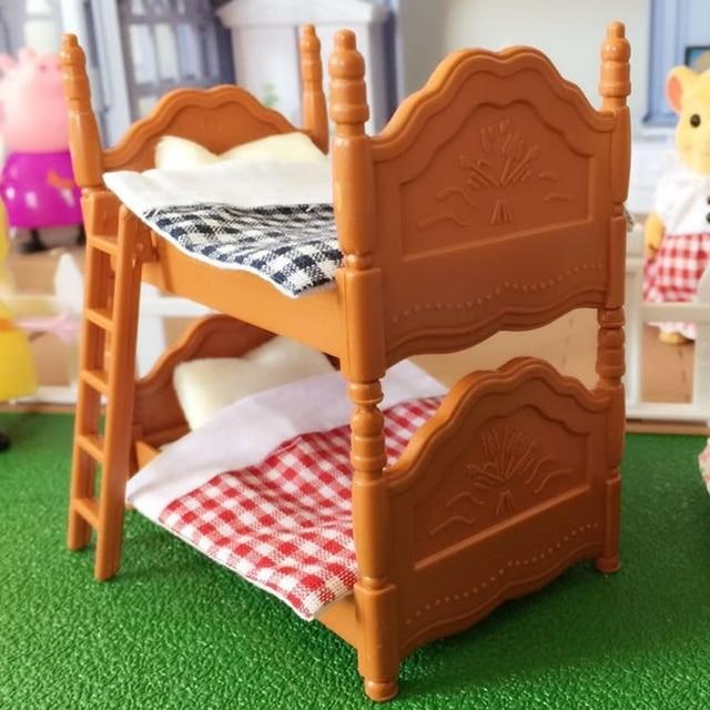 Double Beds Suit For Sylvanian Family Figures Toy Mini Furniture Pretend  Mini Bedroom Set Mini Living