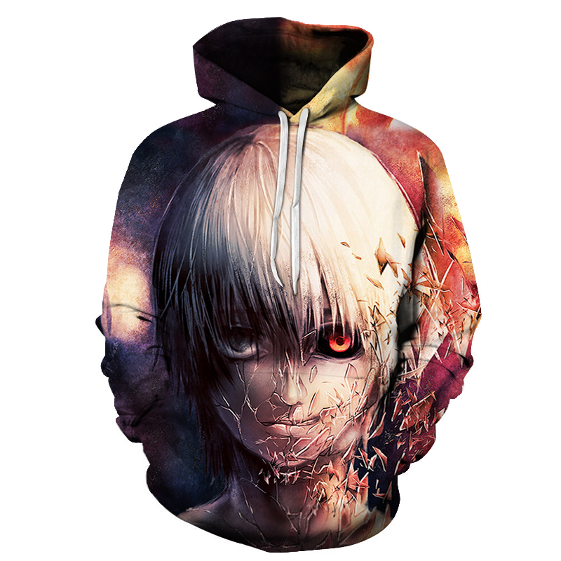 New Hot Anime Tokyo Ghoul 3D Hoodies Men Autumn Fashion Funny Hoodie Harajuku Hip Hop Men Women Hooded Streetwear Sweatshirts