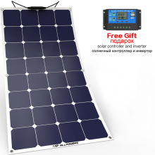 ALLPOWERS Solar Panel 100W 18V Semi Flexible Waterproof High Efficiency in Parallel Series for Yacht RV Boat Cabin.