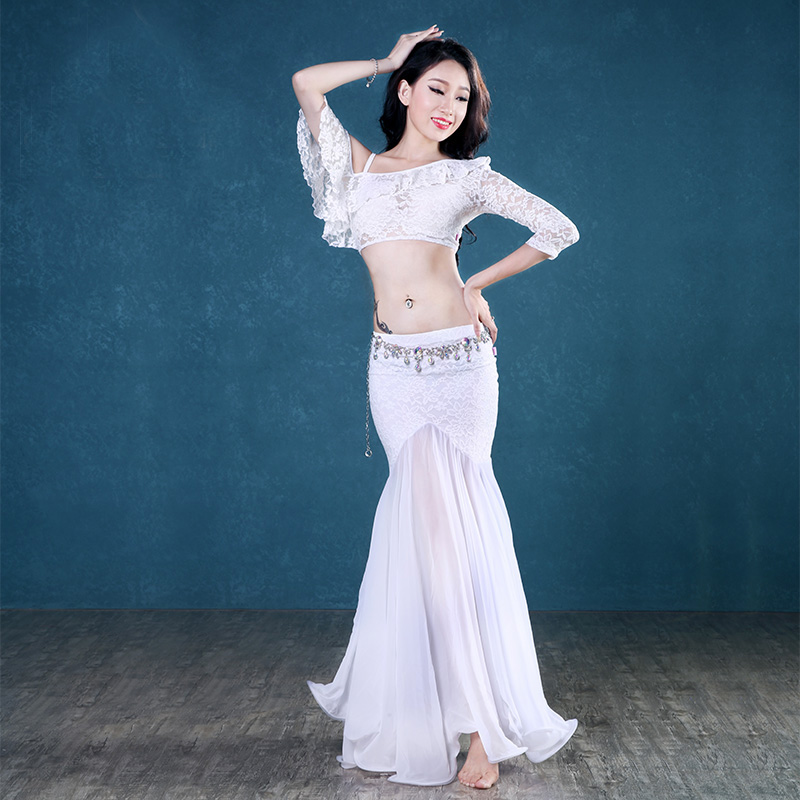 Modern Spaghetti Strap Lace Chiffon Skirt Sexy Belly Dance 2pcs Set For Women/female, Costume Performance Wears T17169A+TH318B