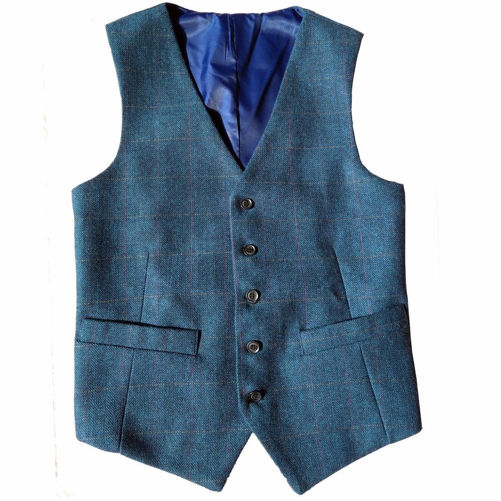 2018 Vintage Blue Checked Tweed Vest Mens Suit Vest Slim Groom\'s ...