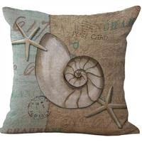 Factory Supply Mediterranean Conch Series Starfish Pattern Old Linen Throw Pillow Back Cushion For Seat Chair Hotel Decor