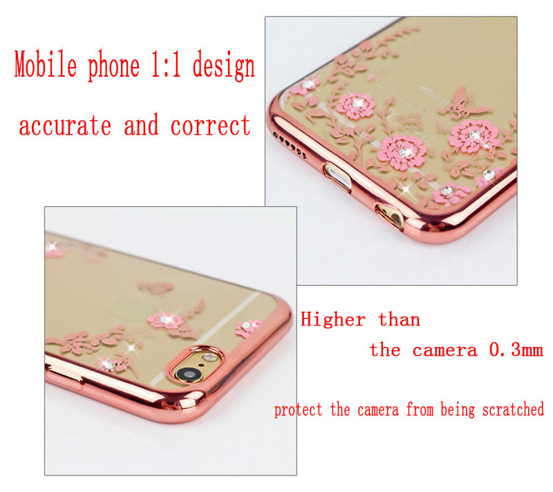 Glitter Case for iPhone 5 5s se Luxury Patterned Cases For iPhone X 8 7 6 6s Plus Cover Diamond Flower luxury Girly Phone Capa in Fitted Cases from Cellphones Telecommunications