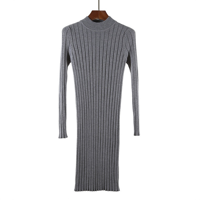 High Quality Autumn Winter Warm Women Basic Sweater Dress Fashion Rib Slim Knitted Wool Dress Long Sleeves Female Dresses 1905