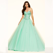 Cheap Vestido de Quinceanera 2016 Ball Gowns Mint Green Party Dresses Luxury Beaded with Crystals Corset Girls Sweet 16 Dresses