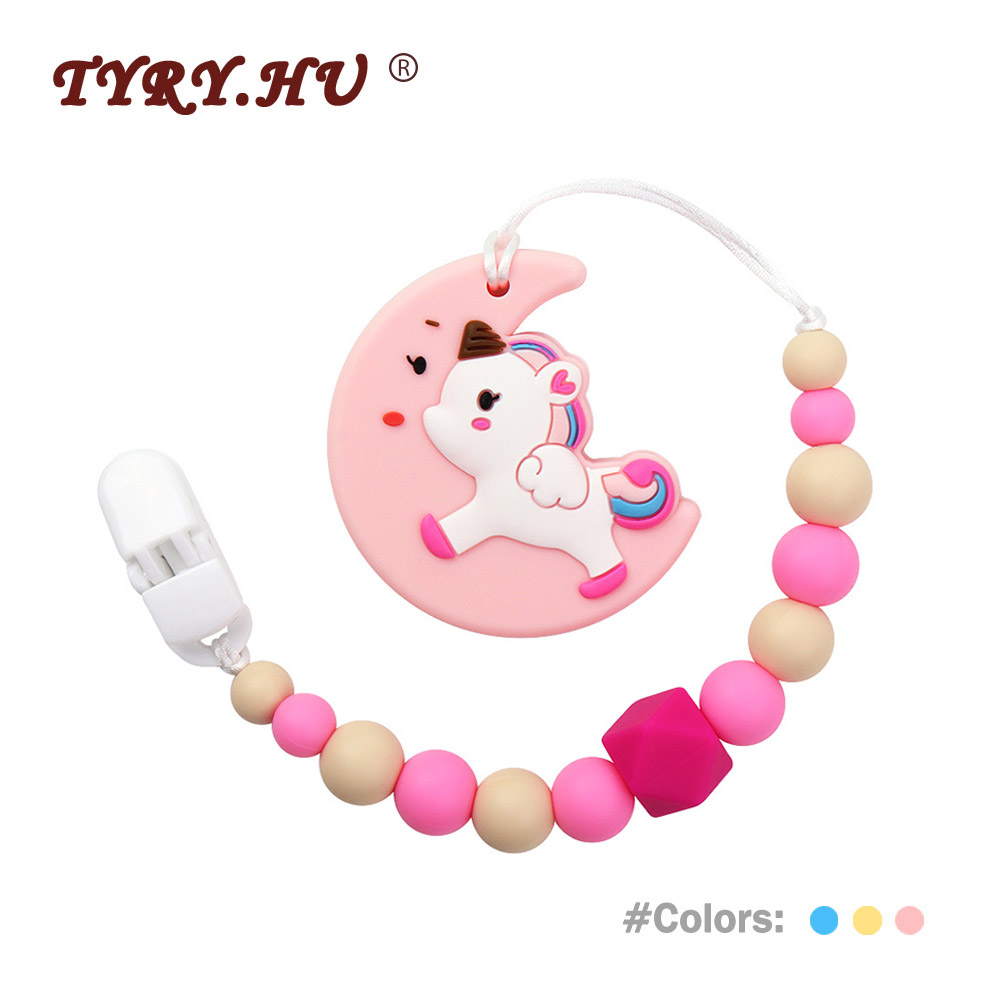 TYRY.HU 1Pcs Baby Teething Pacifier Chain Personalized Baby Pacifier Clips Moon Unicorn Food Grade Silicone Teether Shower Toys